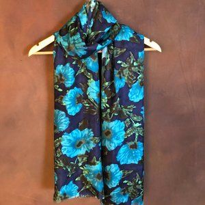 Navy and teal/turquoise floral silky wrap scarf